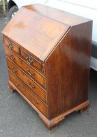 1850's Small Oak Bureaux with Crossbanding around Drawers (5 of 6)