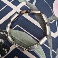Vintage Sterling Silver Moonstone Panel Bracelet (8 of 11)