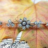 Victorian Diamond Floral Star Bar Brooch in 9ct Gold and Silver (5 of 7)