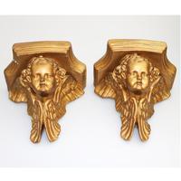 A Good Pair (2x) of Vintage Gilded Plaster Corbel Shelf Brackets C.1960