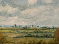 Original 20th Century Vintage English Farmland Country Landscape Oil on Canvas Painting (10 of 14)