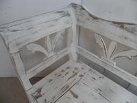 Lovely Mottled White 3-4 Seater Antique Pine Kitchen / Hall Box Settle / Bench (6 of 9)