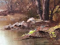"20th Century Oil Painting Landscape Forest River ""View Through The Trees"" (16 of 20)"