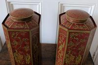 Matching Pair of Octagonal Toleware Canisters (5 of 6)