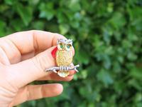 Emerald, Diamond, 18ct Yellow & White Gold Owl Brooch - Vintage c.1980 (2 of 9)