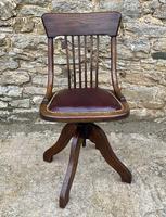 Antique Oak Swivel Office Desk Chair