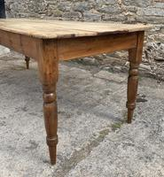 Large Antique Pine Farmhouse Table on Turned Legs (11 of 19)