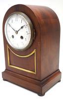 Fine Edwardian Mahogany Balloon Clock Brass Inlay Striking Mantel Clock (4 of 9)