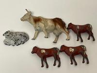Set Miniature Antique French Lead Cold Painted Farm Animals Cow Calves Sheep (20 of 20)