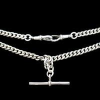 Birmingham 1922 Sterling Silver Double Albert Watch Chain Necklace