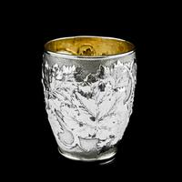Antique Victorian Solid Silver Beaker / Cup with Superb Naturalistic Grapevine Design - Barnard 1871 (2 of 16)