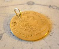 Antique Pocket Watch Chain Fob 1890 Victorian Faux Guinea Gambling Coin Fob (3 of 6)