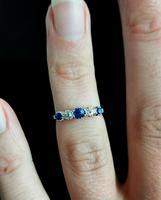 Vintage Sapphire & Diamond Half Hoop Ring, 18ct White Gold & Platinum (12 of 13)