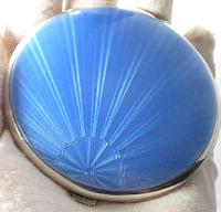 Beautiful Blue Guilloche Enamel Compact Mirror (3 of 9)