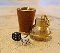 Vintage Pocket Watch Chain Fob 1960s Brass & Leather Gambling Fob With Dice (5 of 10)