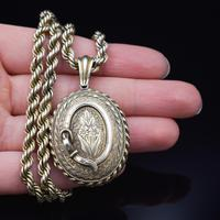 Antique Oval Buckle Fancy Locket and Rope Chain Sterling Silver Gold Gilt Necklace (2 of 11)