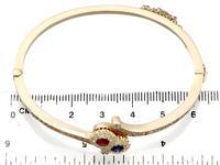 0.45ct Ruby & Sapphire, 1.50ct Diamond, 14ct Yellow Gold Bangle - Antique c.1890 (8 of 12)