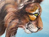 Fine Vintage Art 20th Century Oil Canvas Painting African Standing Lion Portrait (7 of 10)