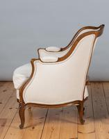 Large French Louis XV Style Walnut Bergere Upholstered Armchair (6 of 11)