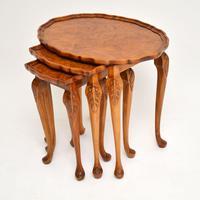 Antique Burr Walnut Pie Crust Nest of Tables (4 of 8)