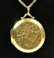 Edwardian Engraved 9ct Yellow Gold Locket Pendant (8 of 10)