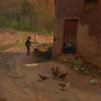 Frederik Rohde, Rural Scene With Chickens, Landscape Painting (5 of 7)