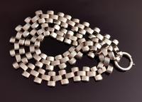 Antique Victorian Silver Collar Necklace, Brick Link (12 of 12)
