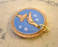 Vintage Pocket Watch Chain Fob 1940s Rose Gilt & Enamel Racing Pigeon Fob Nos (2 of 7)