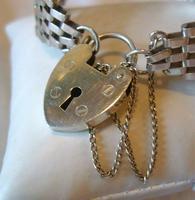 Vintage Sterling Silver Gate Bracelet 1976 St Christopher & Heart Padlock 34.3 Grams (6 of 12)