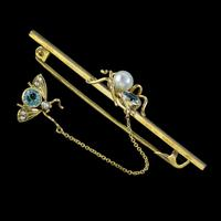 Antique Victorian Aquamarine Pearl Spider & Fly Brooch 9ct Gold c. 1900 (2 of 4)