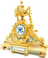 Stunning Quality French Mantel Clock Urn Top Blue Sevres Porcelain Mantle Clock. (7 of 12)