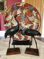 Antique Pair of Japanese Bronze Metal Crane Sculptures (12 of 12)