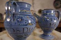 Pair of Mid 17th Century Italian Majolica Berettino Wet Drug Jars (6 of 11)