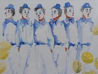 Watercolour Clowns with Tellow Balloons Listed Irish Artist Judith Caulfield Walsh (8 of 10)