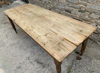 Large Antique Pine Farmhouse Table on Turned Legs (7 of 19)