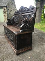 Antique English Carved Oak Hall Bench Settle (6 of 10)