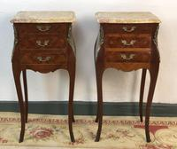 French Marquetry Bedside Tables Cabinets With Marble Top's Louis XV Bombe Style