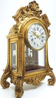 Wow! Incredible French Gilt Mantel Clock Visible Pendulum Glass Panels 8 Day Mantle Clock (2 of 9)