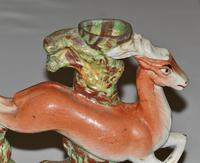 19th Century Staffordshire Large Spill Vase - Hound Chasing a Deer (2 of 4)