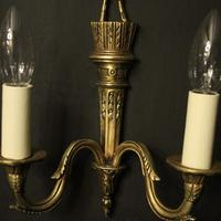 French Gilded Twin Arm Antique Wall Lights (4 of 10)