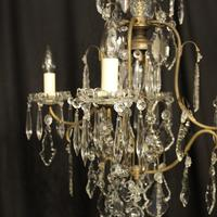 French Gilded Birdcage 5 Light Antique Chandelier (7 of 10)