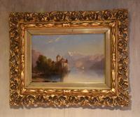 Alpine scene oil painting with castle by a lake (3 of 6)