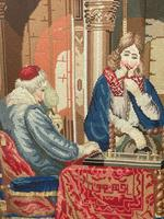 """Large Artwork Gilt Gesso Framed 19th Century Tapestry French Royal Court """"Playing Chess"""" (15 of 44)"""