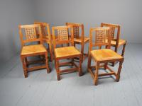 Mouseman Oak Dining Table & Set of 6 Chairs (9 of 20)