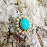 Antique Edwardian 15ct Gold Turquoise & Pearl Edna May Necklace, Vintage Pendant Necklace (2 of 5)