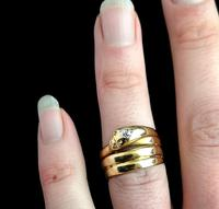 Victorian 18ct Gold Snake Ring, Diamond (8 of 14)