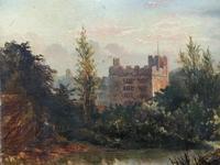 Lovely Original Mid 19th Century Antique British Castle River Landscape Oil Painting (8 of 11)