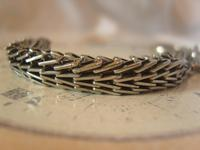 Antique Pocket Watch Chain 1890s Victorian Silver Nickel Herringbone Link Albert (6 of 11)