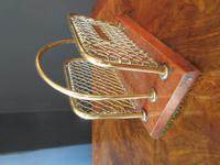 Antique Brass & Mahogany Letter Rack c.1890 (5 of 5)