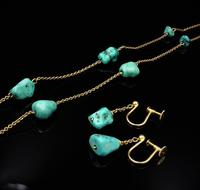 Antique Victorian Turquoise Matrix Nugget 9ct 9K Gold Chain Necklace and Earring Set (6 of 10)